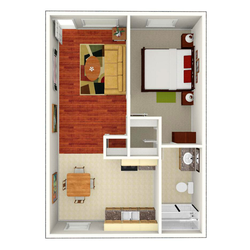 Floor plan depicting 1 bed, 1 bath