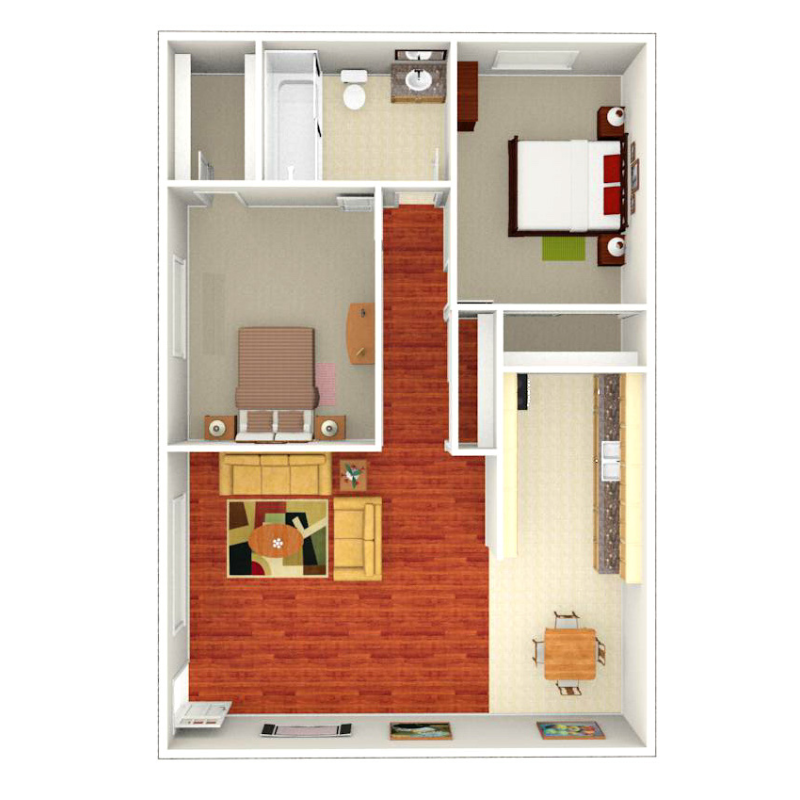 Floor plan depicting 2 Bed, 1 Bath