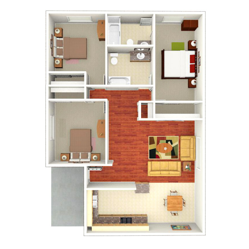 Floor plan depicting 3 Bed, 2 Bath