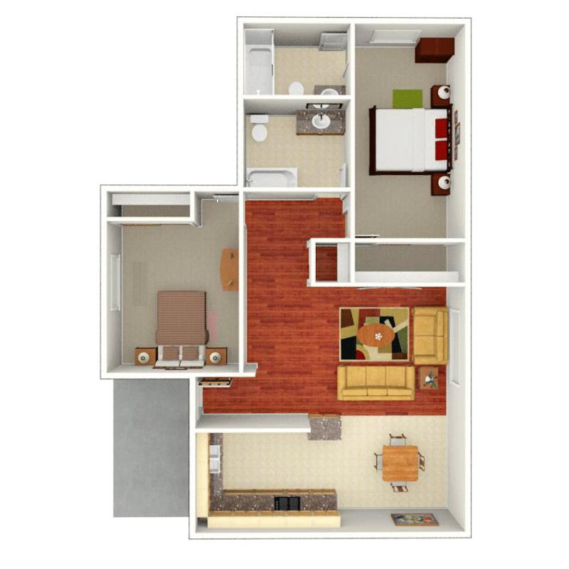 2 bedroom 2 bathroom floorplan layout mockup