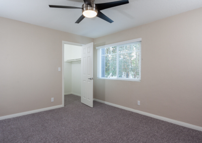 Bedroom walk-in closet and ceiling fan