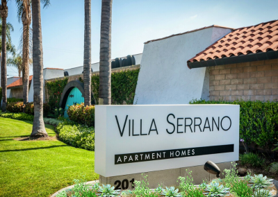 Villa Serrano Apartment Homes front sign