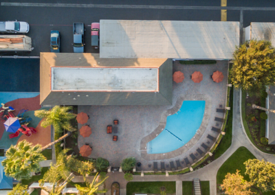Aerial view of the Villa Serrano pool area